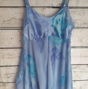 Vintage babydoll water color purple blue dress m